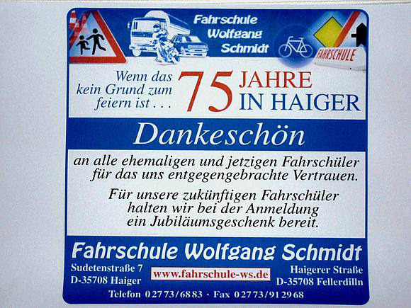 75 JAHRE FAHRSCHULE SCHMIDT in HAIGER
